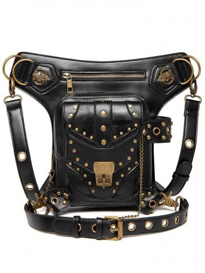 Black Gothic Rivets Motorcycle Chain Waist Shoulder Messenger Bag