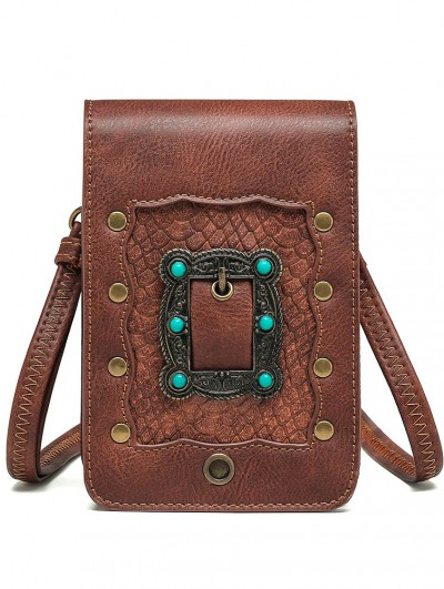 Brown Steampunk Metal Rivets Travel Shoulder Backpack Bag