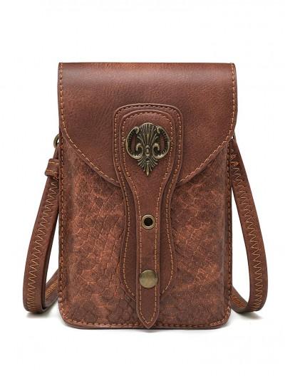 Brown Steampunk Snake Pattern Motorcycle Shoulder Backpack Bag