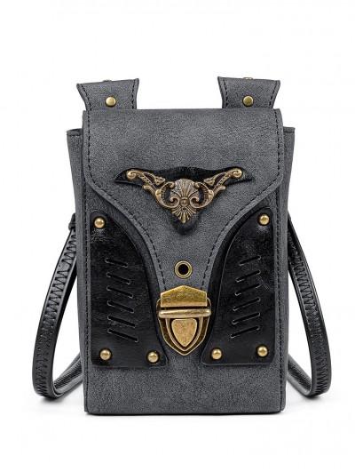 Black Gothic Punk Motorcycle Shoulder Backpack Bag
