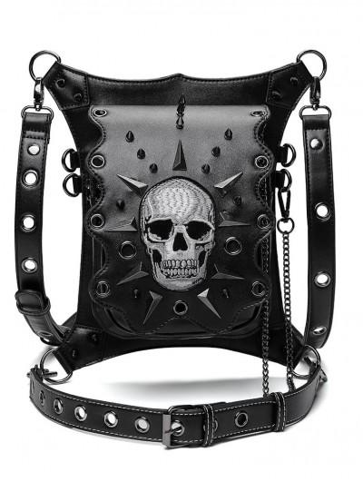 Black Gothic Punk Skull Chain Travel Waist Shoulder Messenger Bag