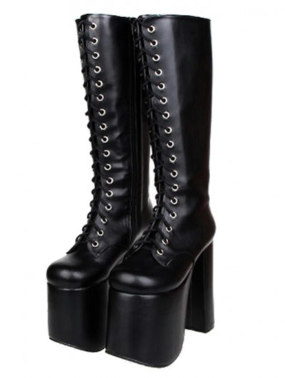 Women's Black Gothic High Heel PU Leather Lace Up Platform Boots