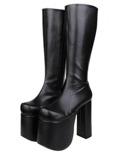 Women's Black Gothic High Platform Round Toe PU Leather Boots