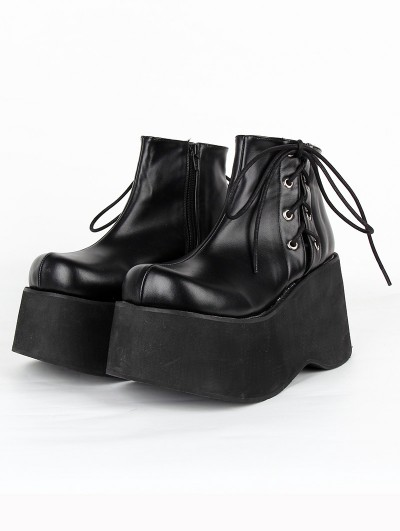 Women's Black Gothic Platform Lace Up Ankle Boots