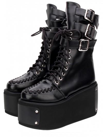 Women's Black Gothic Punk Rivets Platform Mid-Calf Boots