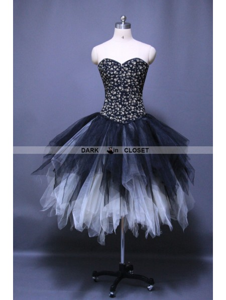 Gothic Punk Ankle Length Puffy Corset Prom Party Dress ...