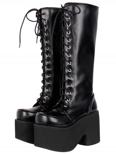 Women's Black Gothic Lace-Up Round Toe Platform Knee Boots