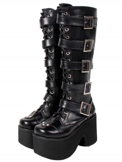 Women's Black Gothic Punk Zipper Buckle Belt Platform Knee Boots