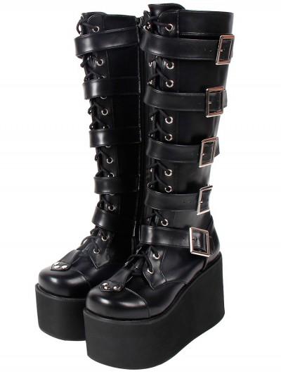 Women's Black Gothic Punk Buckle Belt Lace Up Platform Knee Boots