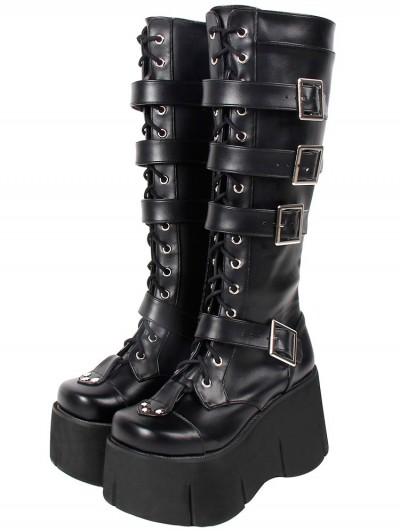 Women's Black Gothic Punk High Platform Knee Boots