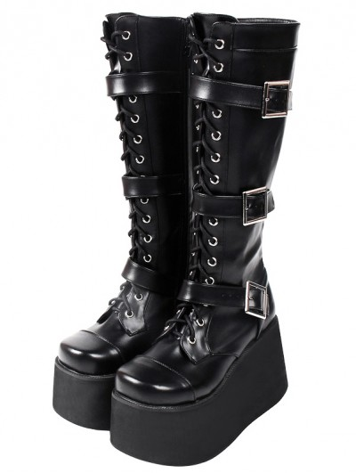 Women's Black Gothic Punk Buckled Lace Up High Platform Knee Boots