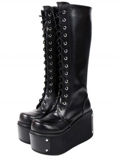 Women's Black Gothic Punk Rivets Lace Up Platform Knee Boots