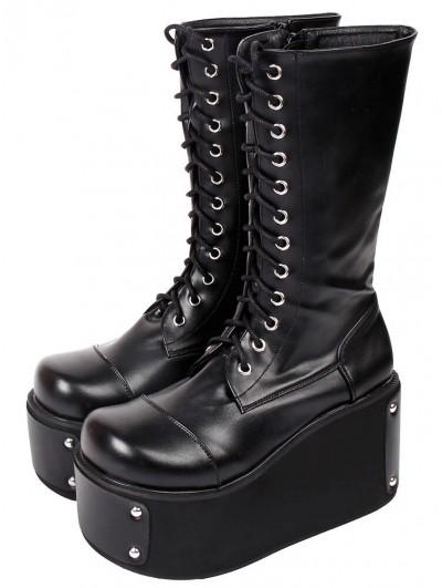 Women's Black Gothic Punk Rivets Lace Up Platform Mid-Calf Boots