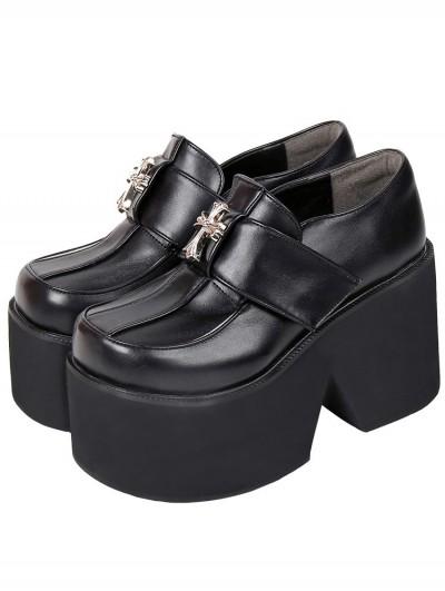 Women's Black Gothic Punk PU Leather Cross Decoration Platform Shoes
