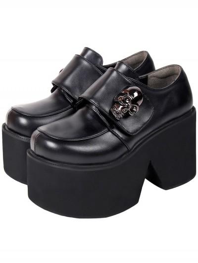Women's Black Gothic Punk PU Leather Skull Decoration Platform Shoes