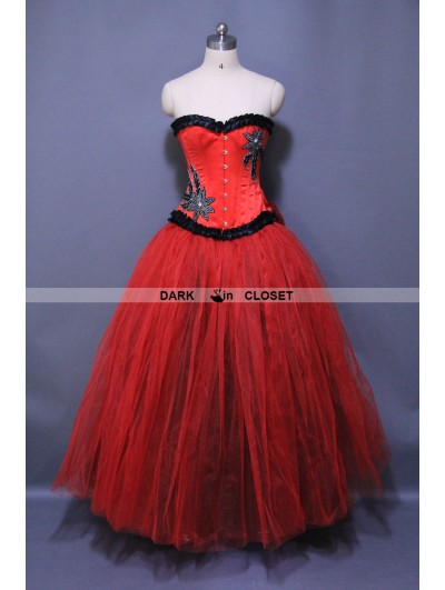 Red Long Gothic Burlesque Corset Prom Gown