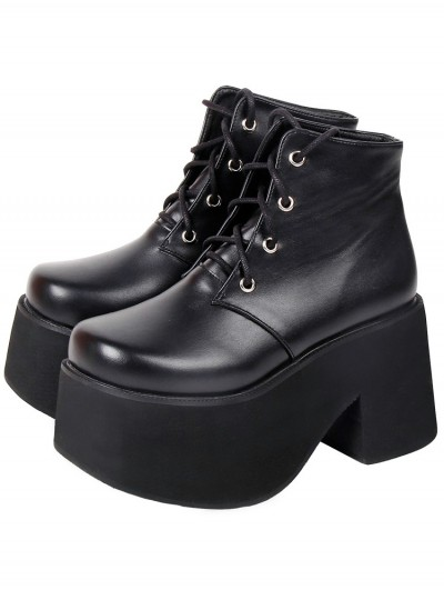 Women's Black Gothic PU Leather Lace Up Platform Ankle Boots