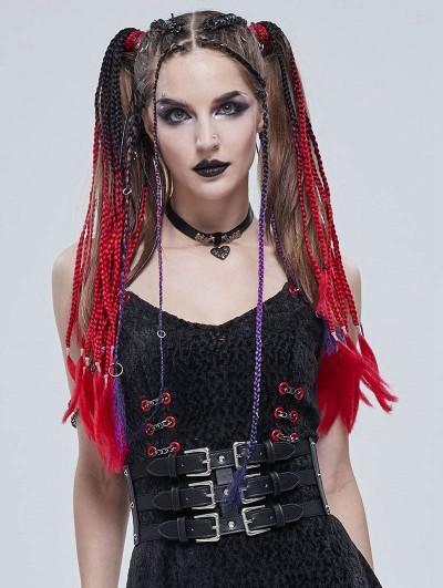Devil Fashion Black Gothic Punk Rivet Metal Buckle Wide Girdle for Women