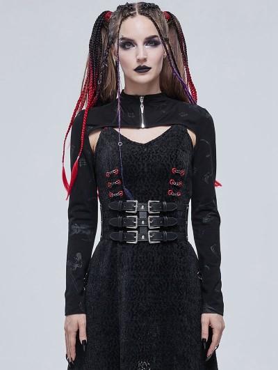 Devil Fashion Black Gothic Patterned Long Sleeve Short Cape for Women