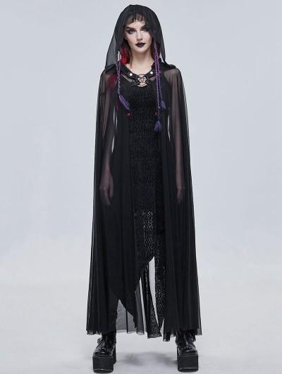 Devil Fashion Black Gothic Transparent Pentagram Long Hooded Cloak for Women