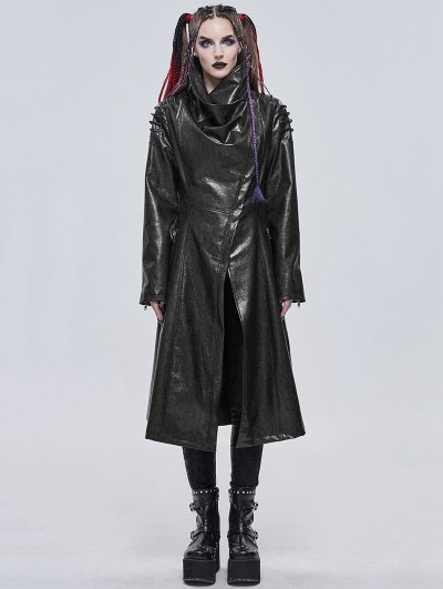 Devil Fashion Black Gothic Punk Do Old Style PU Leather Long Coat for Women