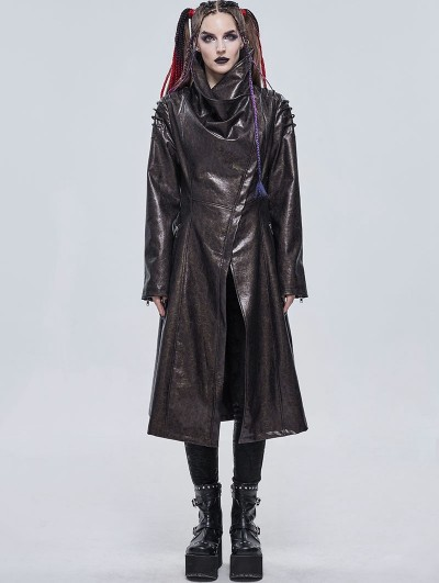 Devil Fashion Brown Gothic Punk Do Old Style PU Leather Long Coat for Women