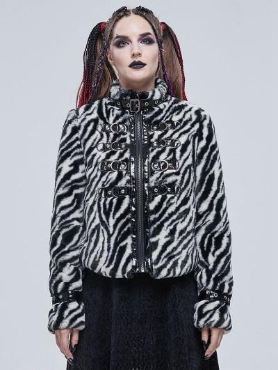 Devil Fashion Black and White Gothic Grunge Fur Warm Short Jacket for Women