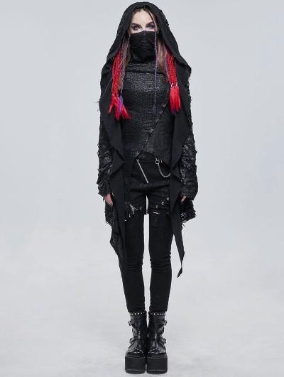 Devil Fashion Black Gothic Punk Irregular Hooded Trench Coat for Women