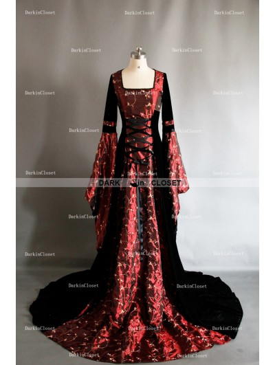 Fancy Red and Black Velvet Celtic Medieval Gown