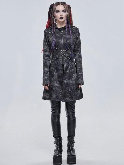 Devil Fashion Dark Gray Gothic Punk Pentagram Hooded Long Coat for Women