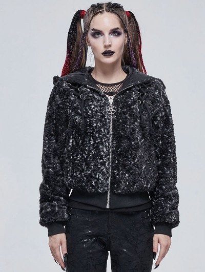 Devil Fashion Dark Gray Gothic Punk Casual Hooded Short Jacket for Women