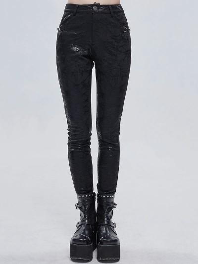 Devil Fashion Black Gothic Punk Patterned Daily Wear Long Pants for Women