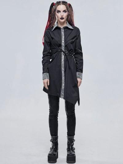 Devil Fashion Black Gothic Daily Wear Long Sleeve Asymmetrical Dress Shirt for Women