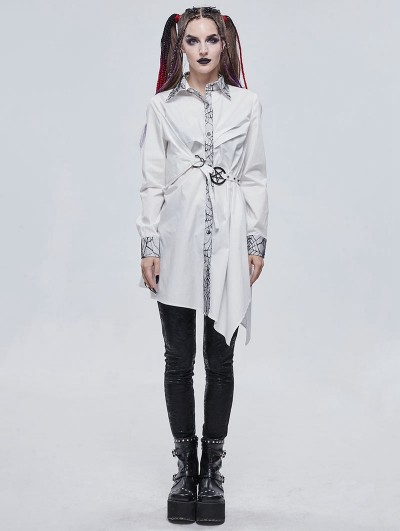 Devil Fashion White Gothic Daily Wear Long Sleeve Asymmetrical Dress Shirt for Women