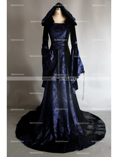 Navy Blue and Black Velvet Gothic Hooded Medieval Gown