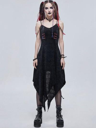 Devil Fashion Black Gothic Punk Irregular Long Dress with Metal Chain Straps
