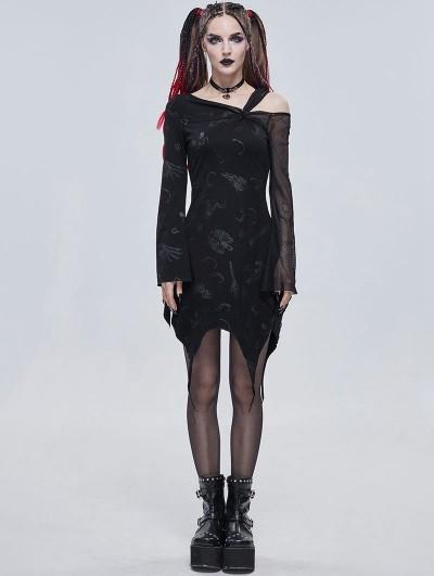 Devil Fashion Black Gothic Punk Pattern Long Sleeve Asymmetrical Dress
