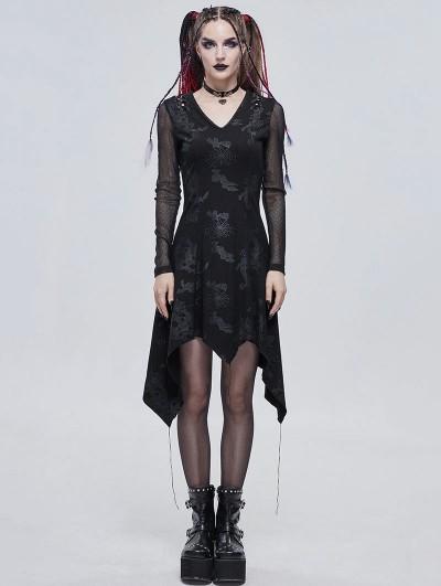 Devil Fashion Black Gothic Punk Cobweb Long Sleeve Irregular Dress
