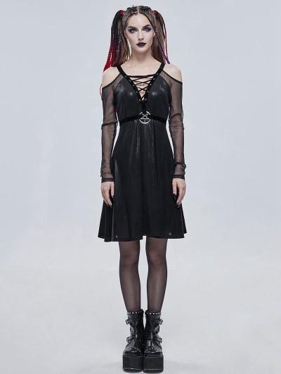 Devil Fashion Black Sexy Gothic Punk Pentagram Off-the-Shoulder Long Sleeve Dress