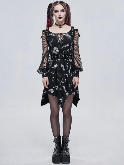 Devil Fashion Black Gothic Patterned Off-the-Shoulder Daily Wear Long Sleeve Irregular Dress