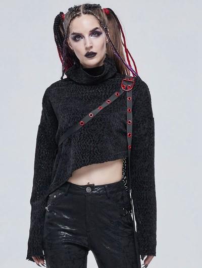 Devil Fashion Black Gothic Punk High Collar Short Sweater for Women