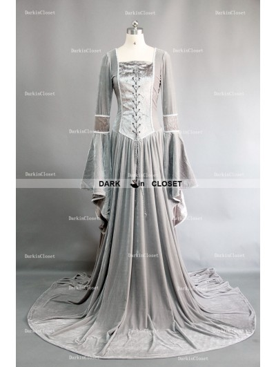 Sliver Velvet Celtic Mediveal Renaissance Dress