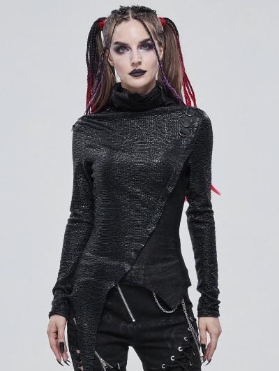 Devil Fashion Black Gothic Punk High Collar Long Sleeve Asymmetrical T-Shirt for Women