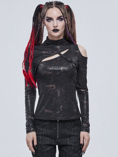 Devil Fashion Sexy Gothic Punk Hollow-out Long Sleeve T-Shirt for Women