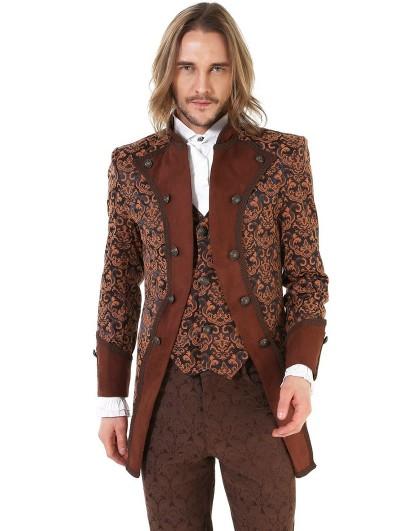 Pentagramme Coffee Retro Gothic Steampunk Brocade Aristocrat Jacket for Men