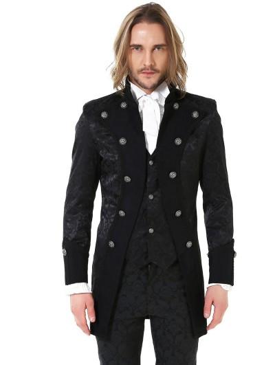 Pentagramme Black Retro Gothic Brocade Aristocrat Jacket for Men