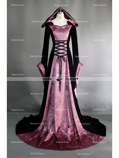 Fancy Purple and Black Velvet Gothic Hooded Medieval Dress