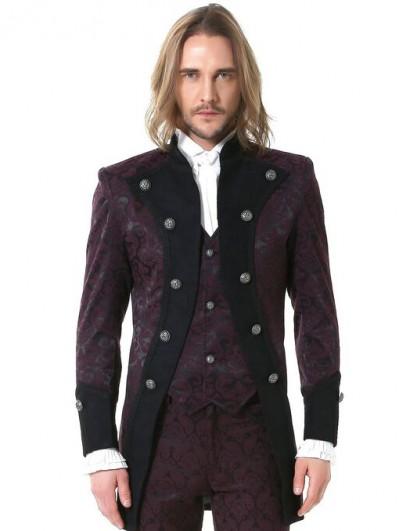 Pentagramme Burgundy Retro Gothic Brocade Aristocrat Jacket for Men