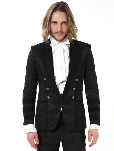 Pentagramme Black Retro Gothic Brocade Short Party Jacket for Men