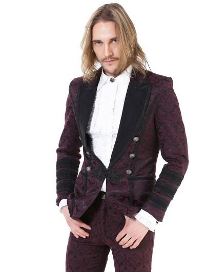 Pentagramme Retro Gothic Brocade Short Party Jacket for men